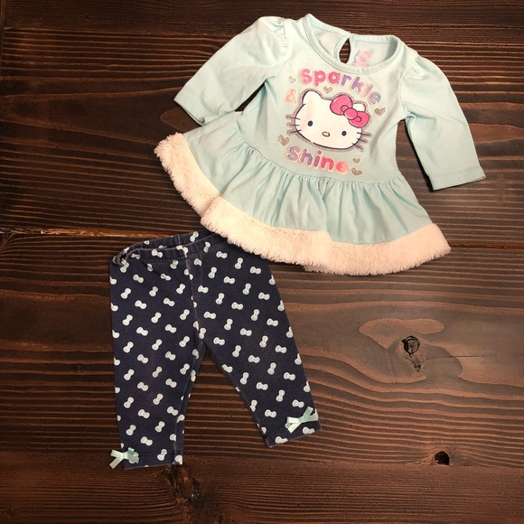 Hello Kitty Baby Girl 2-Pc Tunic /& Tutu Scooter Skirt Set Size 12 Month Pink